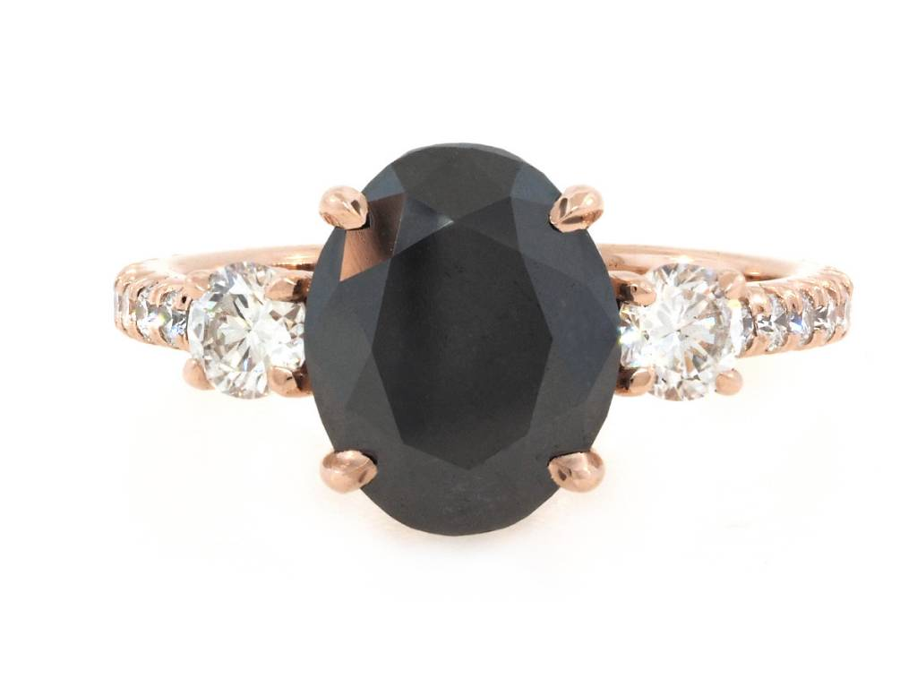 Trabert Goldsmiths 3.12ct Oval Black Dia Dark Star Ring