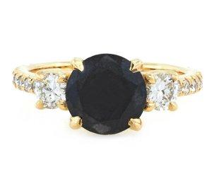 Trabert Goldsmiths 2.12ct Round Black Dia Dark Star Ring E1584