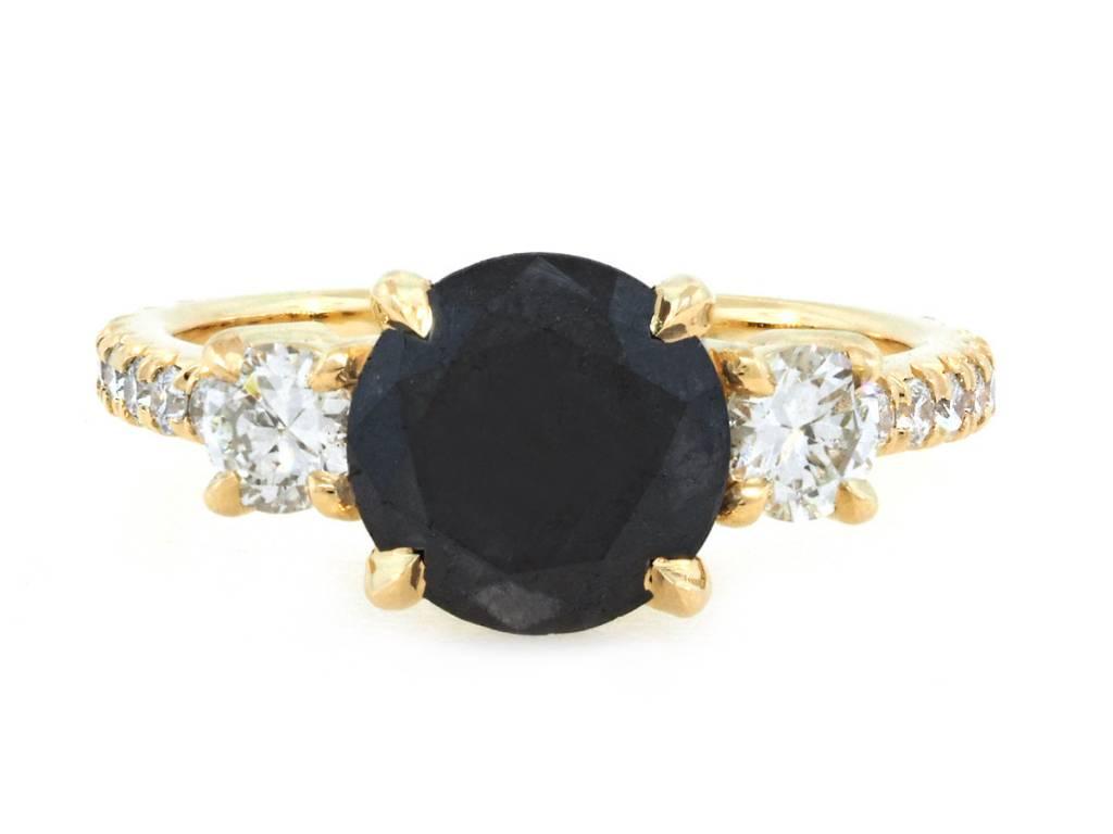 Trabert Goldsmiths 2.12ct Round Black Dia Dark Star Ring