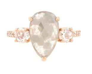 Trabert Goldsmiths 4.63ct Pear Grey Star Diamond Ring E1586