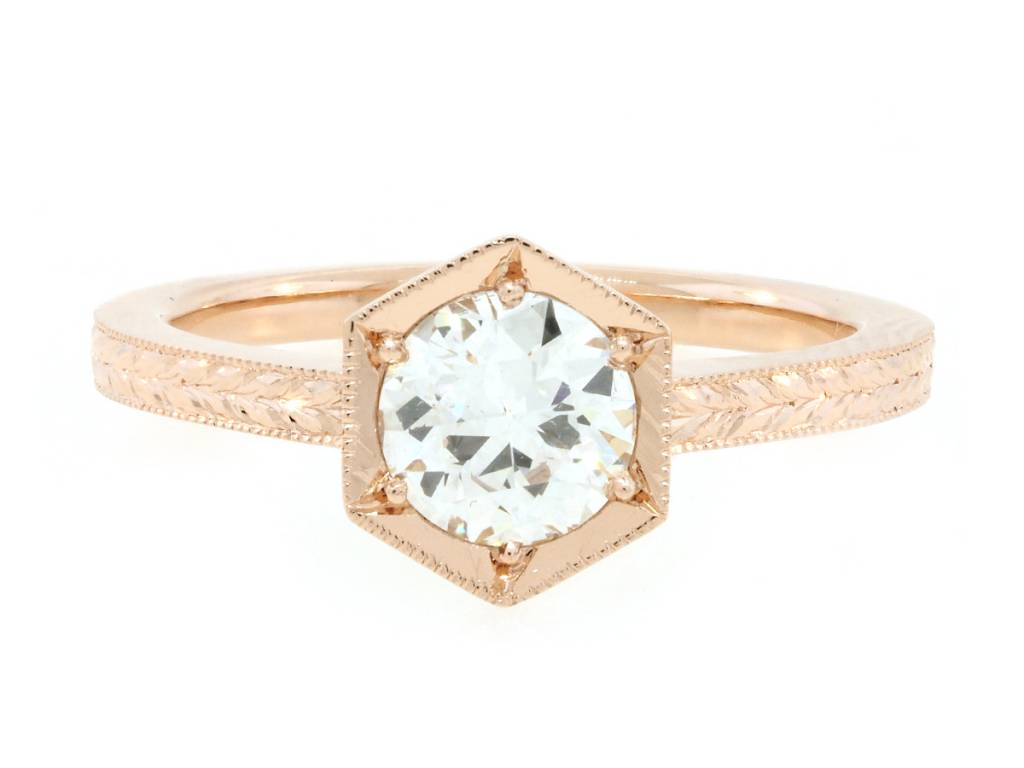 Trabert Goldsmiths 0.76ct Old European Cut Hexagonal Ring