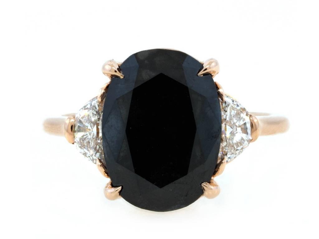 Trabert Goldsmiths 5.71ct Dark Moon Black Diamond Ring