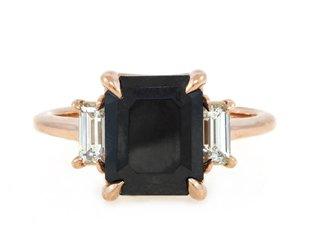 Trabert Goldsmiths 3.68ct Dark Star Black Diamond Ring E1597