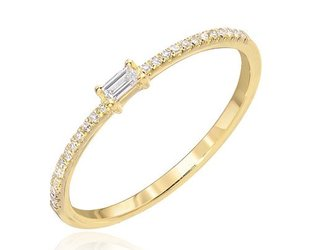 Liven Small Baguette & Pave Diamond Ring LN28