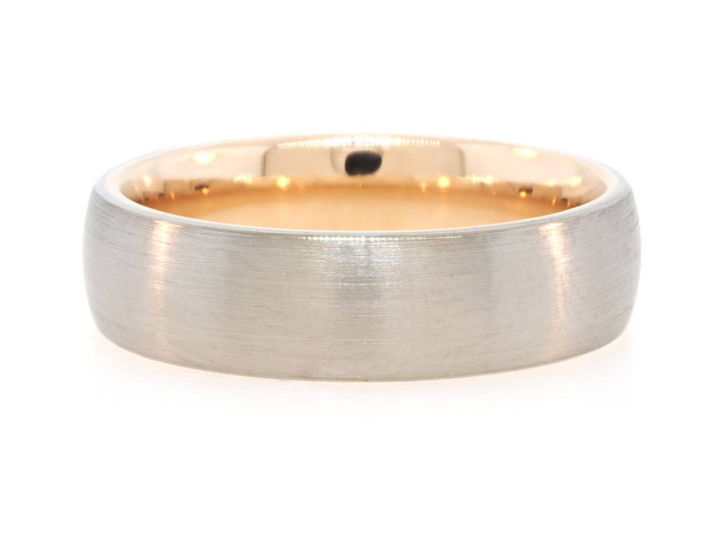 Precision Set Brushed White Gold & Rose Gold Interior Ring