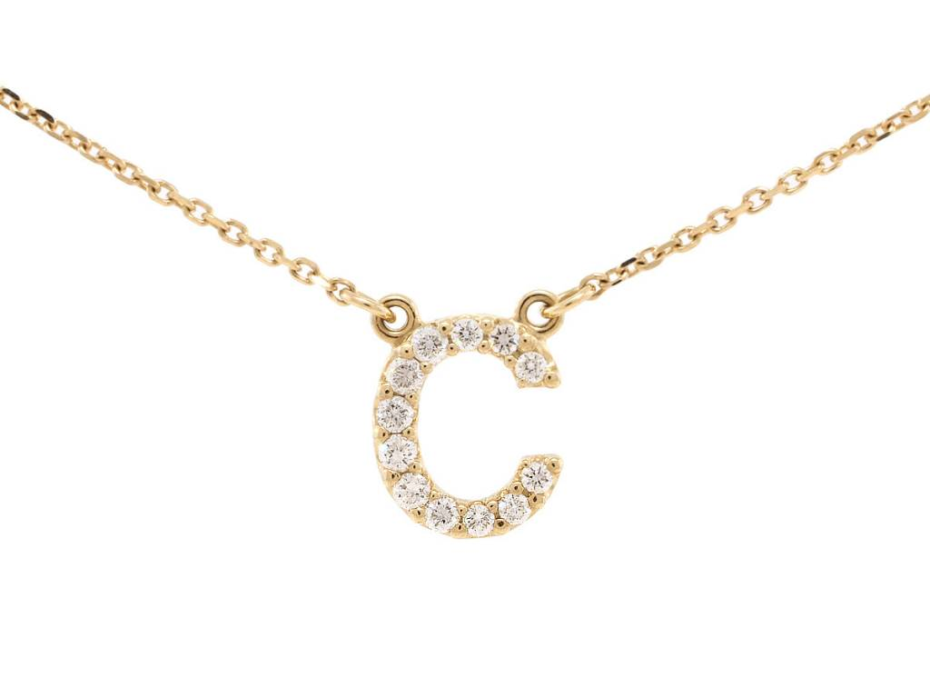 Trabert Goldsmiths Diamond Pave 'C' Necklace