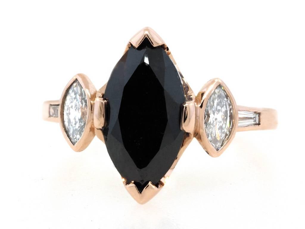 Trabert Goldsmiths 2.75ct Marquise Black Diamond Dark Queen Ring