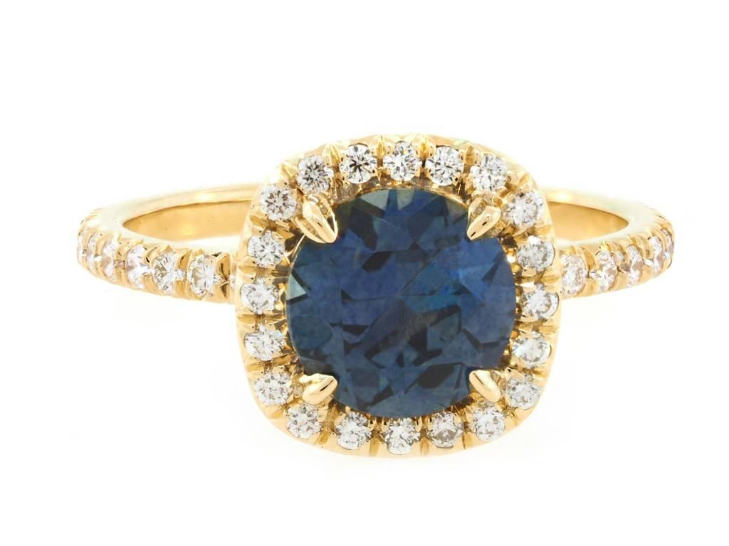 Trabert Goldsmiths 2.28ct Montana Sapphire 'Goddess' Halo Ring