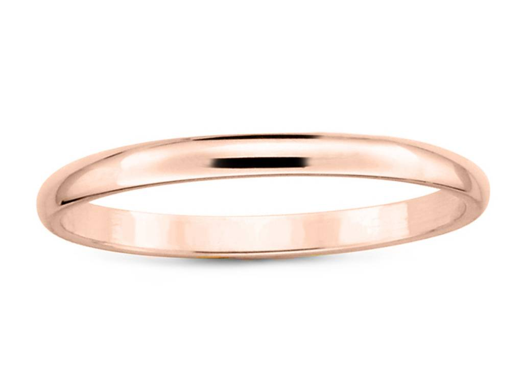 2mm Half Round 14k Rose Gold Band E1627