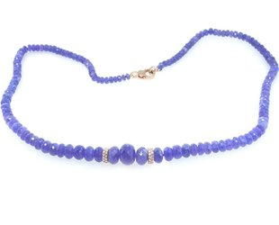Trabert Goldsmiths Faceted Tanzanite and Diamond Necklace E1632