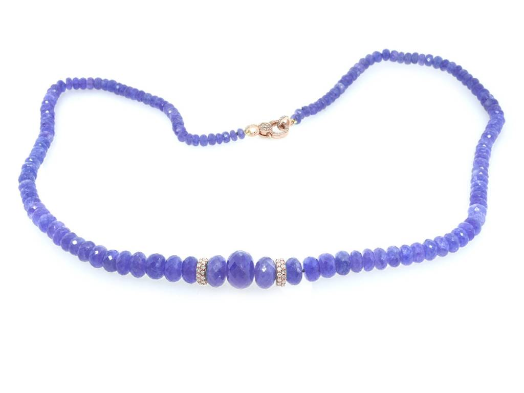 Trabert Goldsmiths Faceted Tanzanite and Diamond Necklace