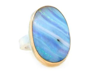 Jamie Joseph Jewelry Designs Oval Boulder Opal Bezel Ring JD113