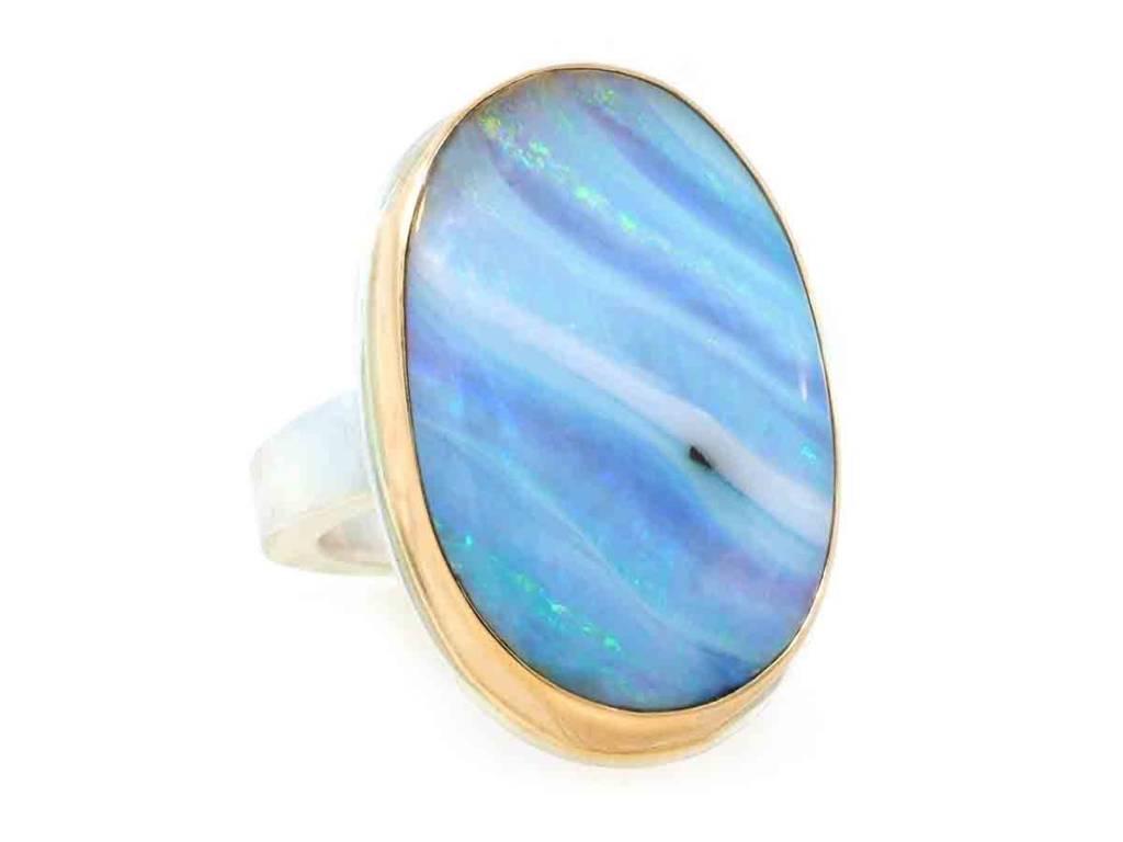 Jamie Joseph Jewelry Designs Oval Boulder Opal Bezel Ring
