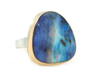 Jamie Joseph Jewelry Designs Asymmetrical Boulder Opal Bezel Ring JD114