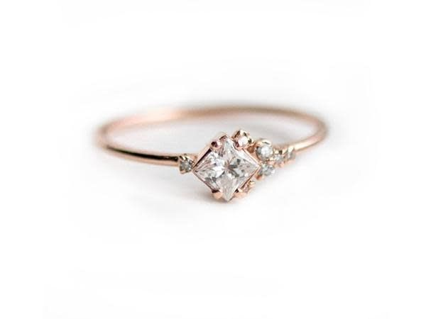 Melanie Casey In the Sky Diamond Cluster 14 Karat Rose Gold Ring