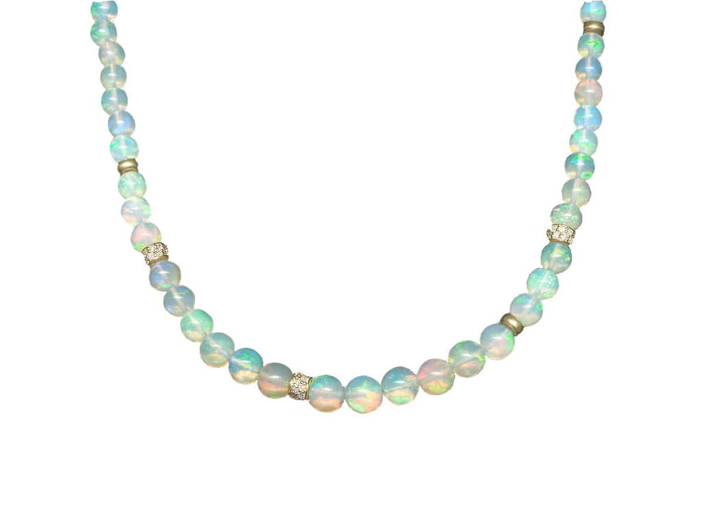 Trabert Goldsmiths Ethiopian Opal Beaded Necklace