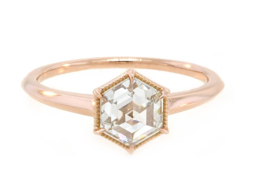 Trabert Goldsmiths .98cts Hexagon Diamond Ring