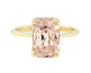 Trabert Goldsmiths 5.53ct Peach Sapphire Aura Ring E1640