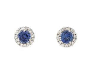 Trabert Goldsmiths 1.91ct Sapphire Halo Stud Earrings E1645