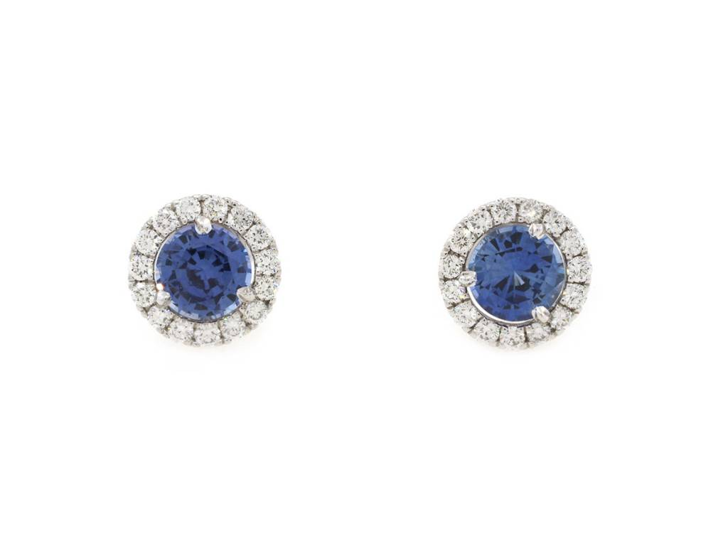 Trabert Goldsmiths 1.91ct Sapphire Halo Stud Earrings