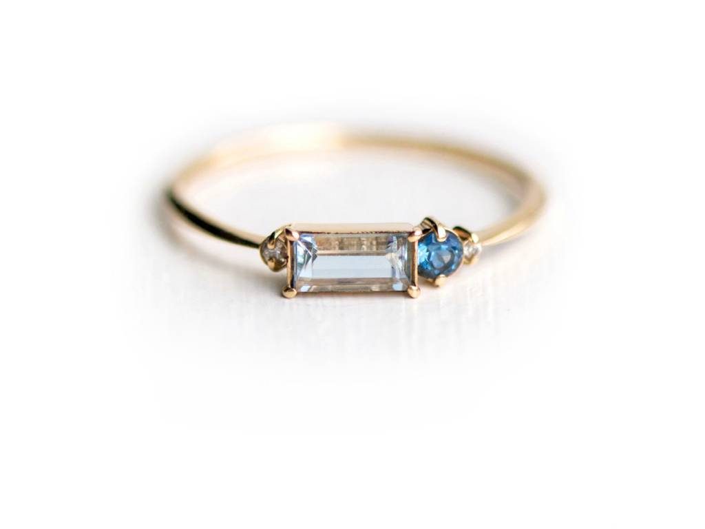 Melanie Casey Balcony Aquamarine Cluster Gold Ring
