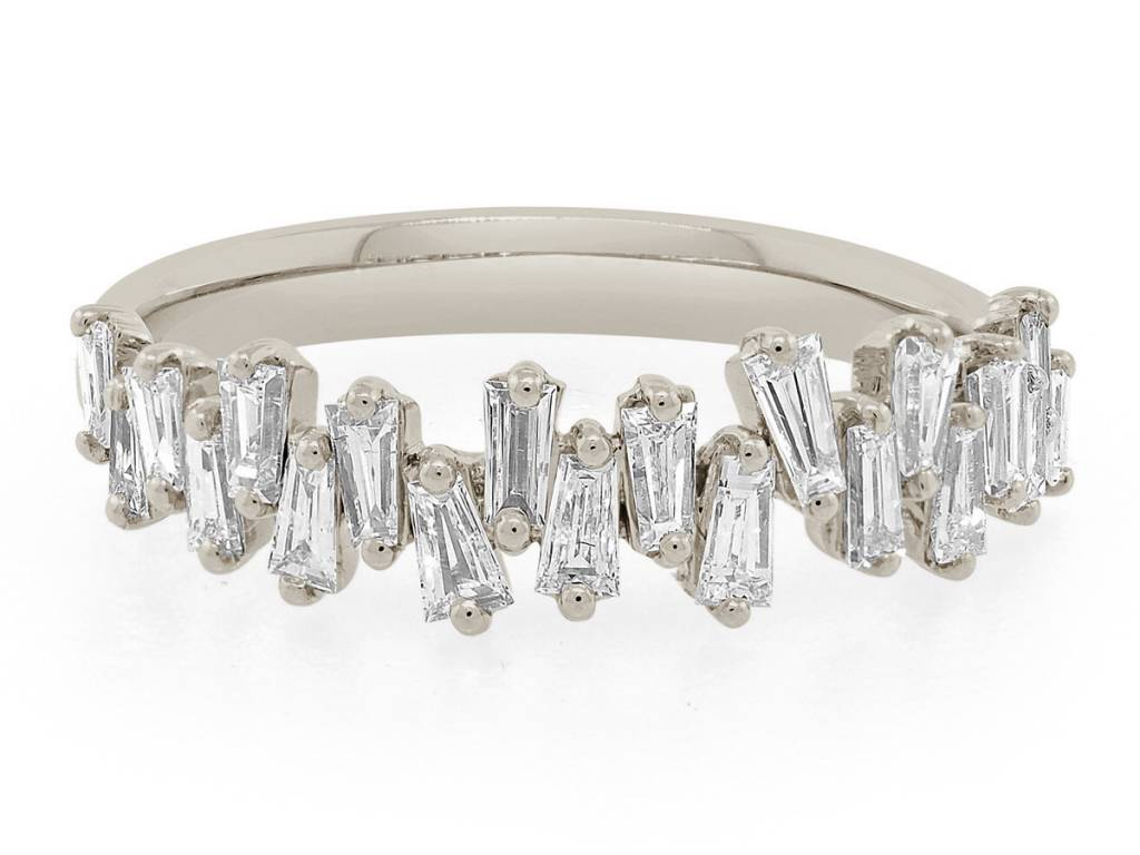 Trabert Goldsmiths White Gold Freeform Baguette Diamond Ring