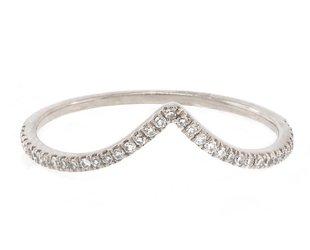 Liven V Shaped Pave Diamond White Gold Ring LN36