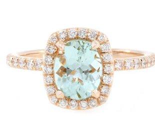 Trabert Goldsmiths 1.15ct Mint Green Goddess Aqua Ring E1648