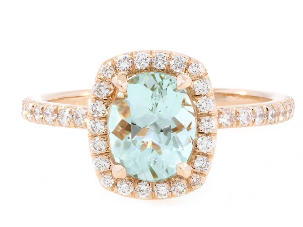 Trabert Goldsmiths 1.15ct Mint Green Goddess Aquamarine Ring