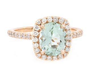 Trabert Goldsmiths 1.22ct Mint Green Aqua Goddess Ring E1647