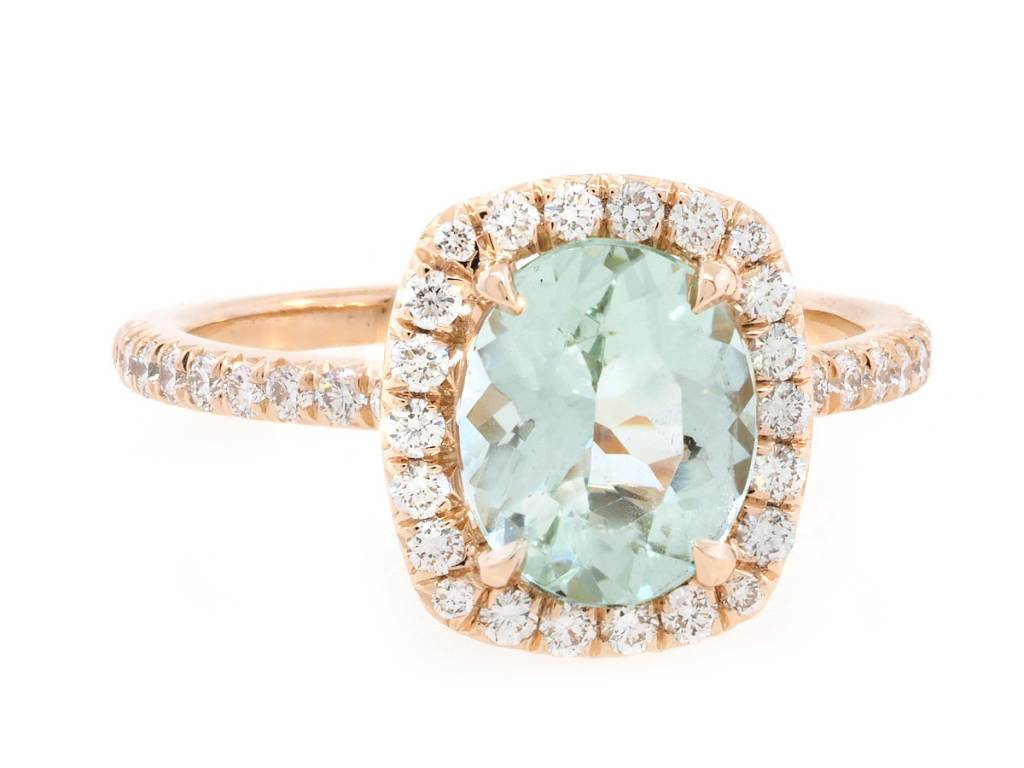 Trabert Goldsmiths 1.22ct Mint Green Aquamarine Goddess Ring