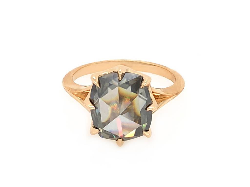 Trabert Goldsmiths 3ct Grey Moissanite Rose Cut Orion Ring