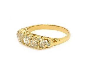 Trabert Goldsmiths .98ct Antique 5 Diamond Filagree Ring E1652