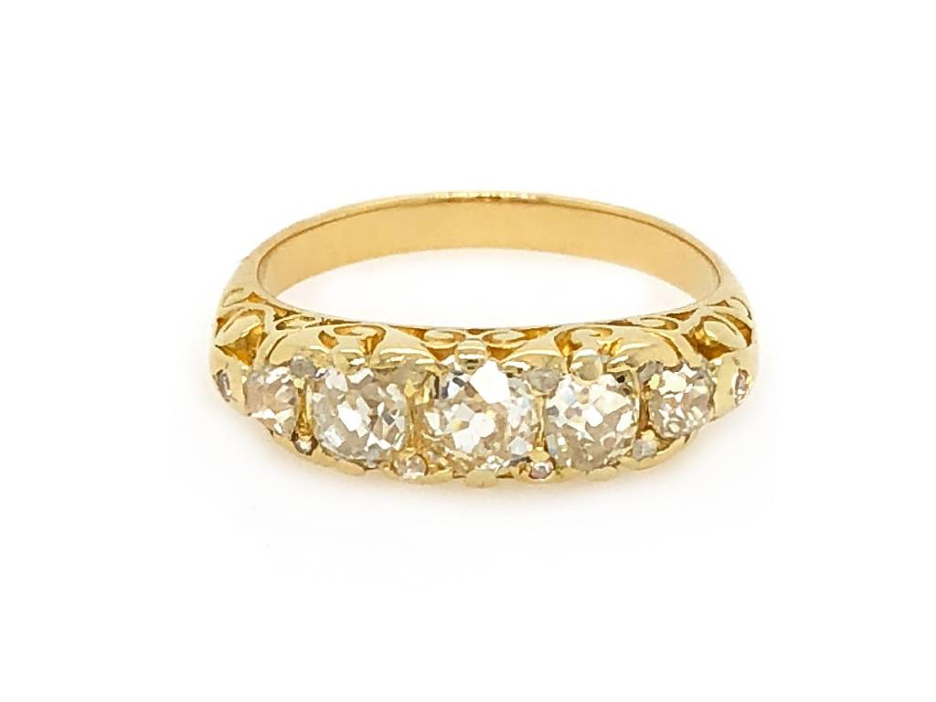 Trabert Goldsmiths .98ct Antique 5 Diamond Filagree Ring