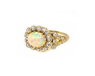 Trabert Goldsmiths Antique Victorian Opal and Diamond Ring E1655