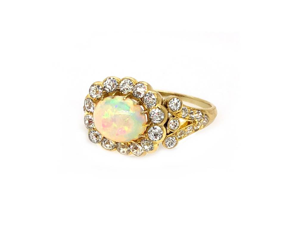 Trabert Goldsmiths Antique Victorian Opal and Diamond Ring