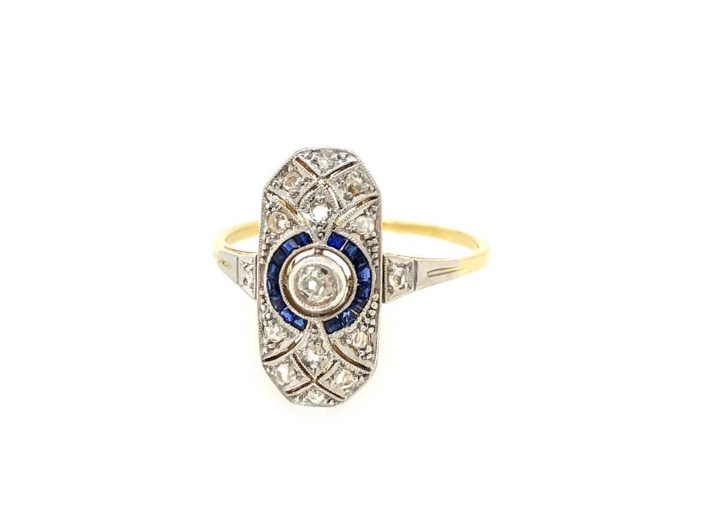 Trabert Goldsmiths Antique Deco Sapphire and Diamond Ring