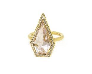 Lauren K Geometric Morganite and Diamond Ring LK29