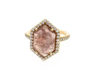 Lauren K Hexagonal Pink Sapphire and Diamond Ring LK30