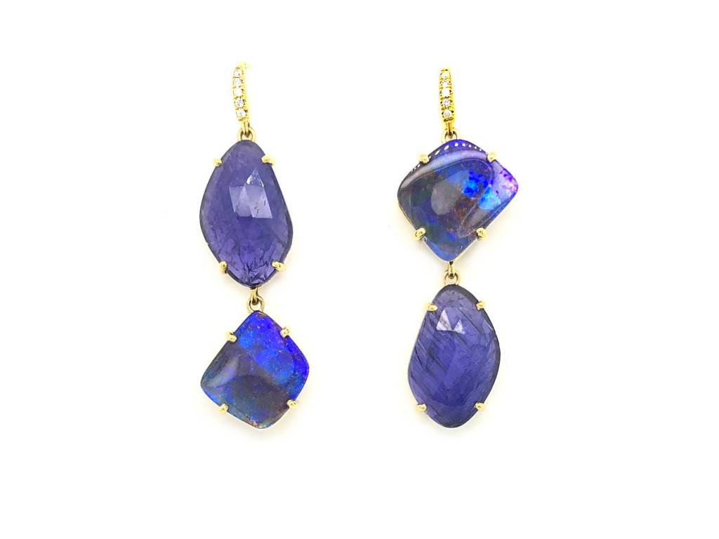 Lauren K Boulder Opal And Tanzanite Drop Earrings