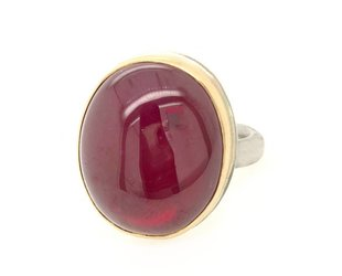 Jamie Joseph Jewelry Designs Oval Smooth African Ruby Ring JD121