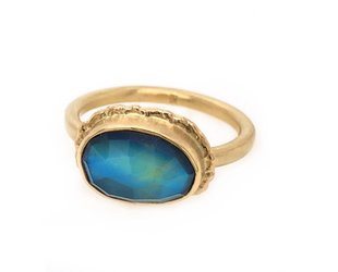 Jamie Joseph Jewelry Designs Asymmetrical Blue Green Moonstone Ring JD117