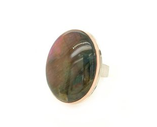 Jamie Joseph Jewelry Designs Large Oval Purple Labradorite Ring JD122
