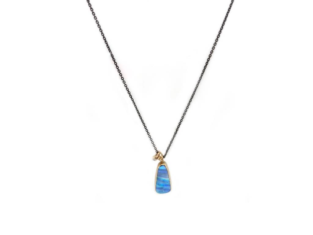 Jamie Joseph Jewelry Designs Triangular Boulder Opal Necklace