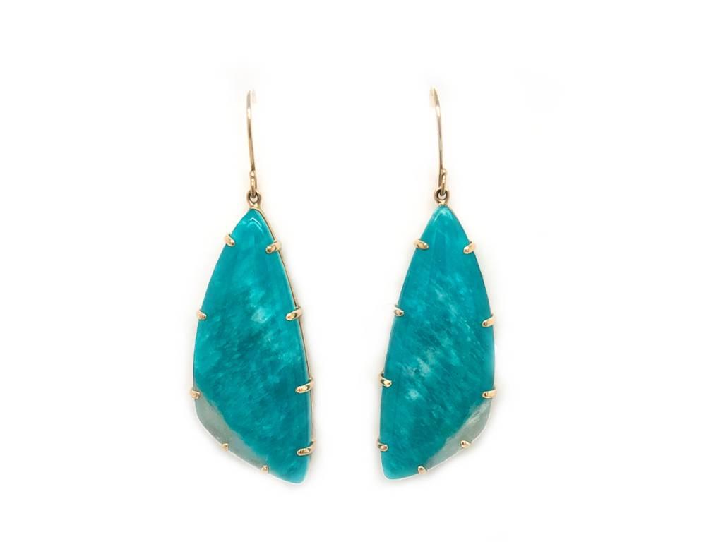 Jamie Joseph Jewelry Designs Asymmetrical Amazonite Drop Earrings
