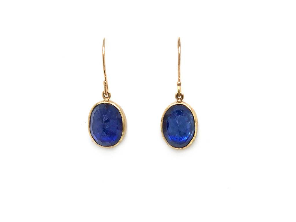 Jamie Joseph Jewelry Designs Oval Faceted Blue Sapphire Drop Earrings