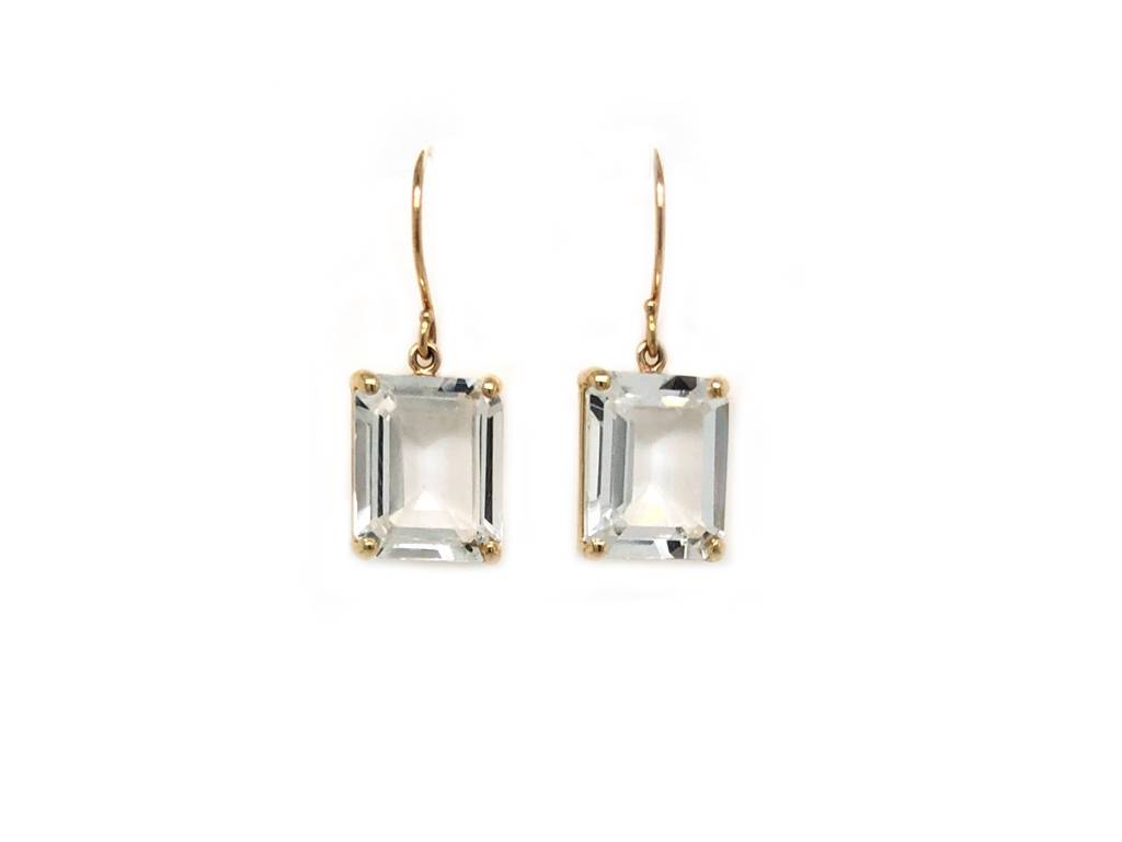 Jamie Joseph Jewelry Designs Emerald Cut White Topaz Drop Earrings