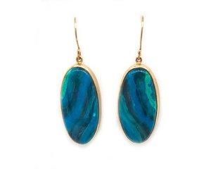 Jamie Joseph Jewelry Designs Oval Chrysocolla Drop Earrings JD132