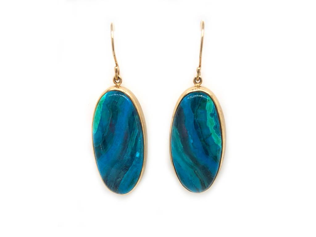 Jamie Joseph Jewelry Designs Oval Chrysocolla Drop Earrings