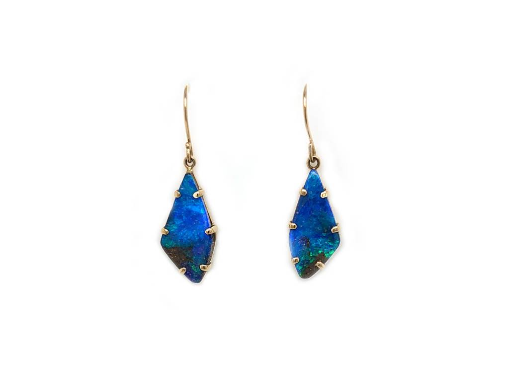 Jamie Joseph Jewelry Designs Asymmetrical Boulder Opal Drop Earrings